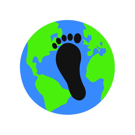 Earth planet and black carbon footprint on it. Environmental pollution symbol. Reducing emissions of carbon dioxide concept. Vector flat illustration.