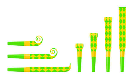 Rolled and unrolled party blowers, horns, noise makers. Green and yellow sound whistles with rhombus pattern isolated on white background. Side and top view. Vector cartoon illustration.