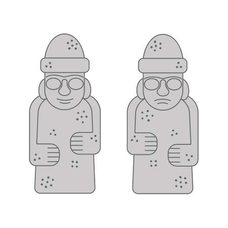 Dol hareubangs or tol harubangs icons. Famous rock statues from Jeju Island, South Korea isolated on white backround. Vector outline illustration.