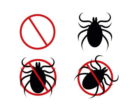 Stop mite icon set. Red forbidden sign, tick silhouette and two variations of pictogram for insect spray killer repellent isolated on white background. Vector flat illustration. Vector Illustration