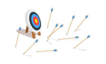 Archery target ring with many missed arrows. Business goal failure symbol. Mistake strategy concept. Vector cartoon illustration.