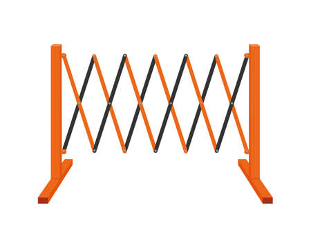 Sliding road barrier. Traffic obstacle isolated on white background. Work zone safety fence. Vector cartoon illustration.