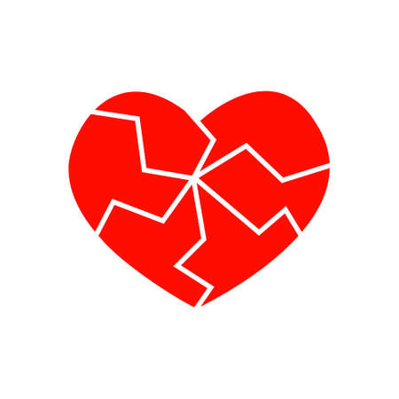 Red cracked heart icon isolated on white background. Pictogram of medicine for the cardiovascular system. Symbol of heartbreak, infarct, divorce, parting. Vector flat illustration. Vector Illustration