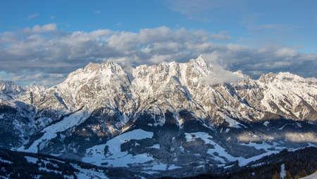 Mountain portrait Birnhorn Saalbach dramatic clouds perfect blue sky light scenic mood