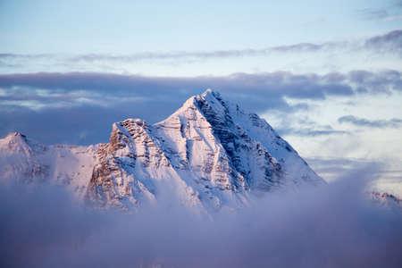 Mountain portrait Birnhorn Saalbach sunset clouds perfect blue sky purple light