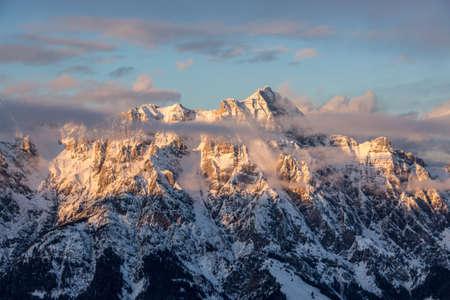 Mountain portrait Birnhorn Saalbach sunset clouds perfect blue sky light