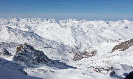 Val thorens aiguille peclet glacier view sunset snowy mountain landscape France alpes