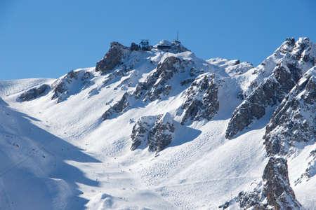 Pic de Saulire courchevel cabin station view grand couloir black slope sunset snowy mountain landscape France alpes