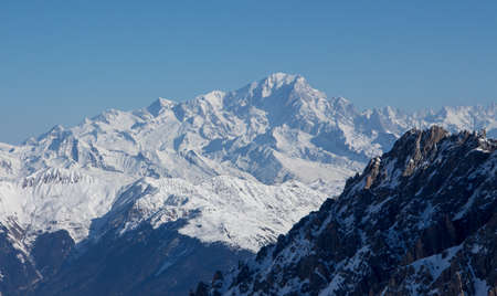 Mont blanc view snowy mountain from Mont Vallon Meribel 3 vallees Banco de Imagens
