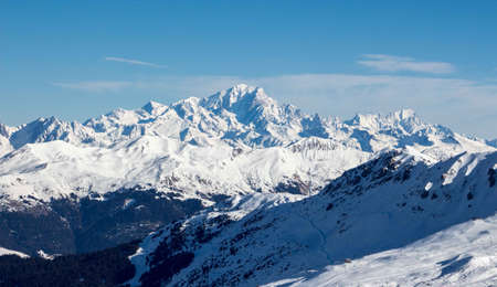 Sunset View blue hour of the Mont Blanc massiv from mont du Vallon meribel mottaret 3 vallees. Highest mountain in the alpes, gorgeous view on a perfect sunny day.