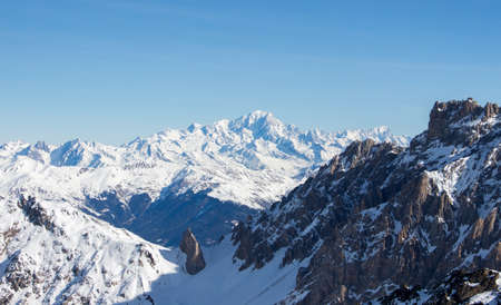 View of the Mont Blanc massiv from mont du Vallon meribel mottaret 3 vallees. Highest mountain in the alpes, gorgeous view on a perfect sunny day.