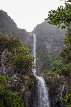 In the middle of the tropical forest of madeira there is this famous spectacular natural event, the risco waterfall. It is a cascade of two waterfalls, very high, in a beautiful green nature of the tropical forest.