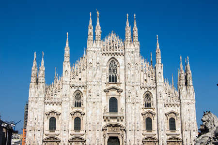 Beautiful day in milano with view to the duomo di milano, blue sky, perfect day in milano, italy.