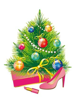 shoe boxes: �rbol de Navidad, Navidad, A�o Nuevo, fondo, regalos, sue�o