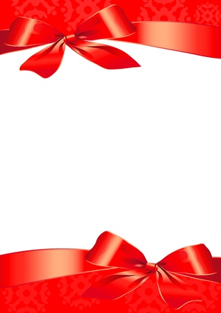 bow, red, background, Christmas