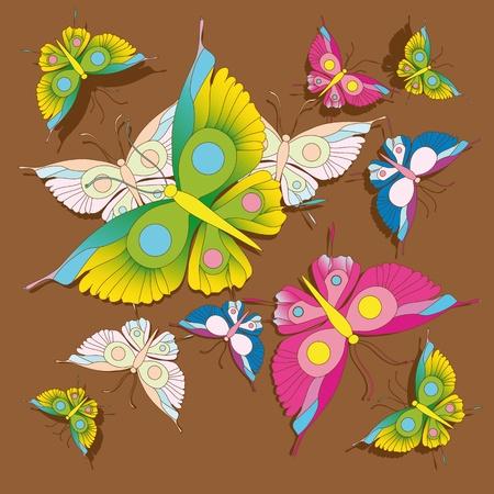 raspberry pink: butterfly, pattern, background Illustration