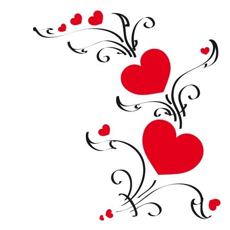 Herz rot, Herzen, Hintergrund Vektorgrafik