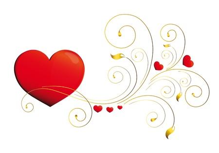 day saint valentin: heart, hearts, red,krausens, background Illustration