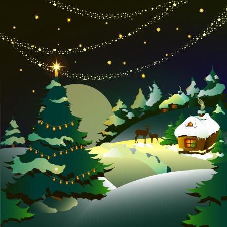 santas village: Christmas, new year ,background Illustration