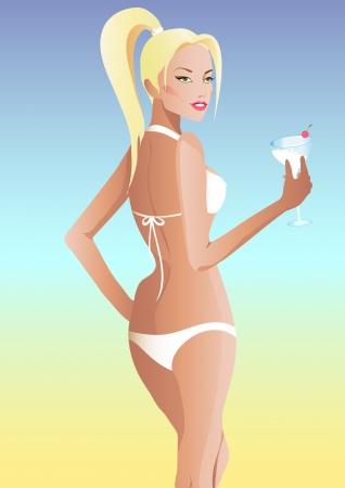 beautiful blond girl, vector