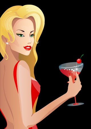 hot lips: beautiful blond girl, vector