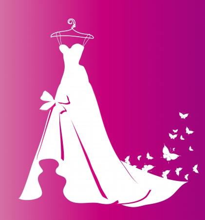 wedding dress silhouette: wedding dress vector Illustration