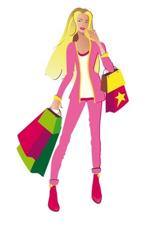 compras chica: Compras Moda ni�a vector Vectores