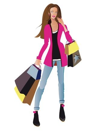 compras chica: Compras Moda ni?a vector