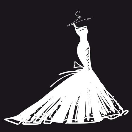 wedding: wedding dress vector Illustration