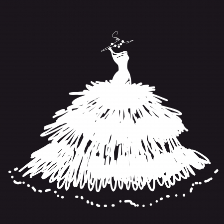 wedding dress vector Illustration