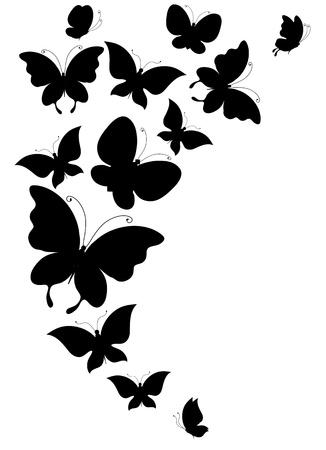 silhouette papillon: papillon, papillons, vecteur
