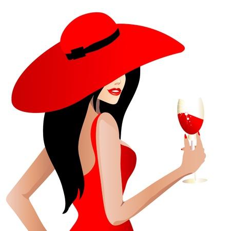 빨간 드레스, 벡터의 beautifull 여자