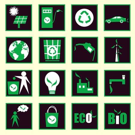 urns: eco icons vector Illustration