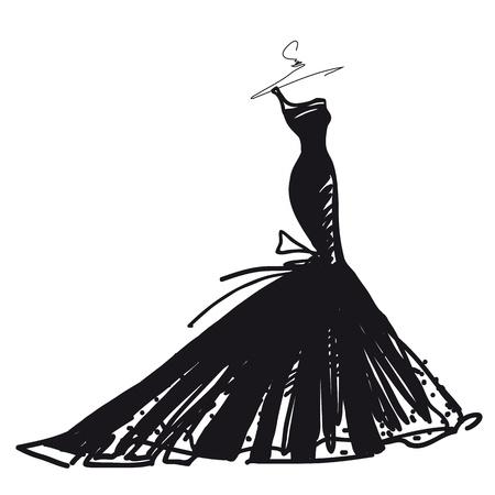 vector de vestido de novia Ilustración de vector