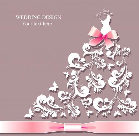 wedding dress vector Vettoriali