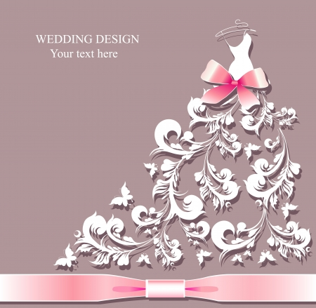 bridal veil: wedding dress vector Illustration