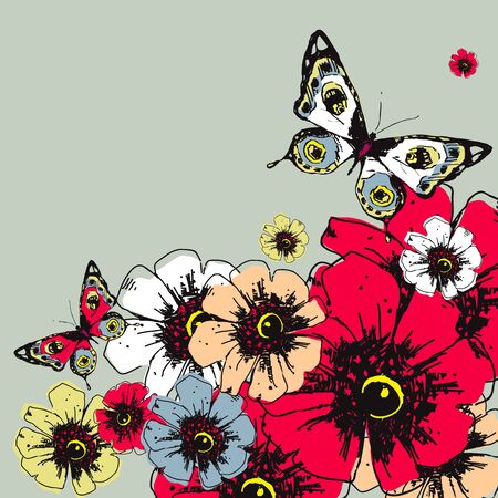 batterfly: flowers card vector
