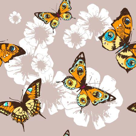 batterfly: flowers pattern vector