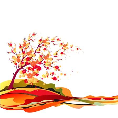 herbstblumen: Baum im Herbst Illustration