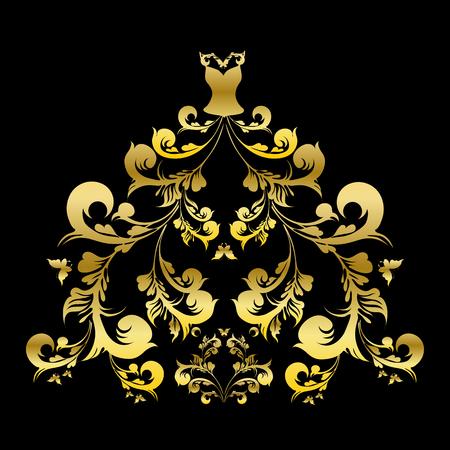 corset: wedding dress vector Illustration