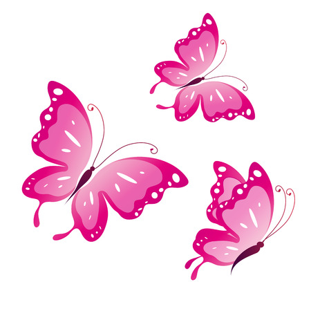 pink flowers: butterflies design Illustration