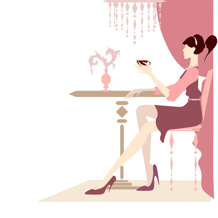 modest fashion: beautiful woman in cafe