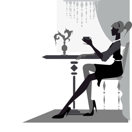 frenchwoman: beautiful woman at cafe Illustration