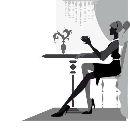 modest fashion: beautiful woman at cafe Illustration