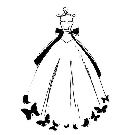 butterfly on flower: dress design Illustration