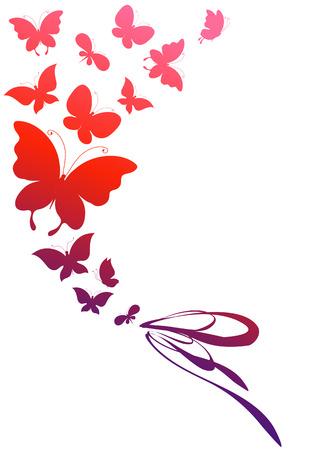 flor violeta: diseño de mariposas