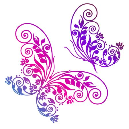 pink wedding: butterflies design Illustration