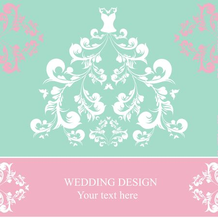 pink wedding: dress design Illustration