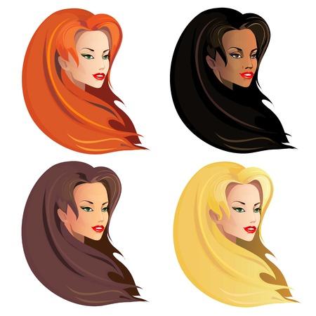 long hair model: Set of beautiful woman