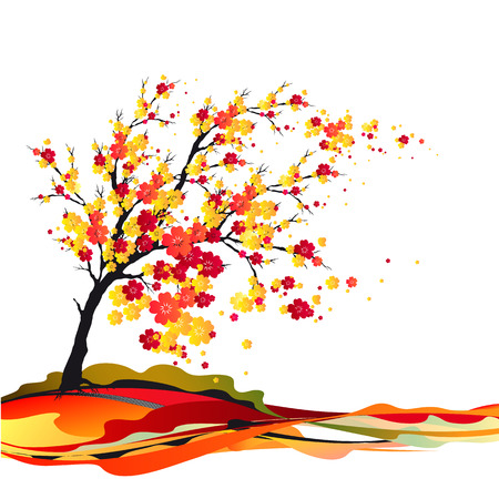 flowering: cherry tree Illustration